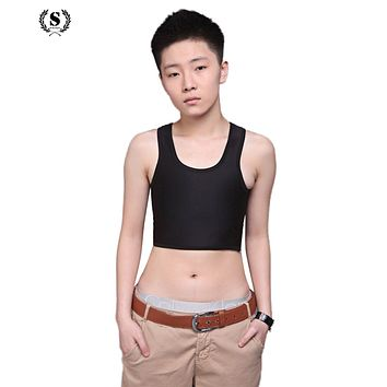 Cropped Corset Women Crop Top 2017 Tank Top Tomboy Casual Breathable Buckle Short Chest Breast Binder Trans Vest Tops Shapers