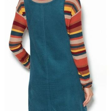 Casual Blue Plain Pockets Shoulder-Strap Cute Teens Corduroy Overall Skirt