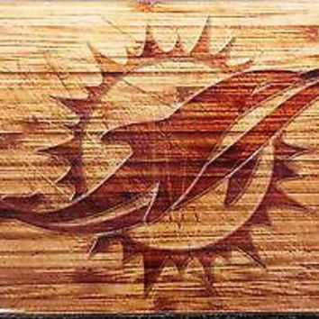 Miami Dolphins Woodgrain Design Deluxe Laser Acrylic Inlaid License Plate Tag