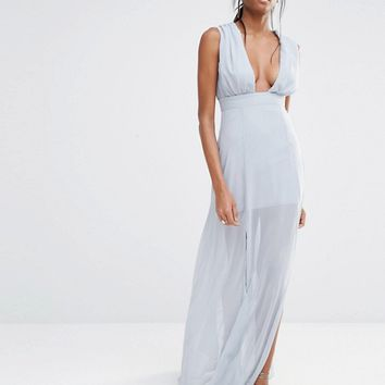 Missguided Deep Plunge Maxi Dress at asos.com