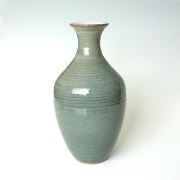 Tall ceramic vase, green ceramic vase, green pottery vase, tall pottery vase, handmade, high fired