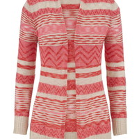 Mixed Stripe Open Front Cardigan - Watermelon Combo