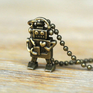 10 SALE  Necklace Miniature Robot Retro Itty Bitty by timegemstone