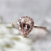VS 6x8mm Pink Morganite Ring  14K Rose Gold Pear shaped Morganite Ring Wedding Ring Diamond Engagement Ring Anniversary Ring Halo Jewelry