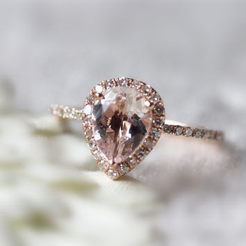 bd2e9152b8b69 Shop Pear Morganite Rings on Wanelo