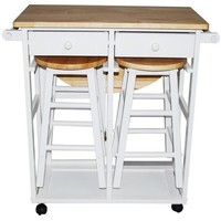 Yu Shan Co Usa Ltd 355-21 Breakfast Cart With Drop-Leaf Table White - Transitional - Indoor Pub And Bistro Sets - by UnbeatableSale Inc.
