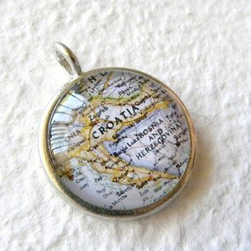 World Traveler Map Necklace  Croatia by TheGreenDaisyShop on Etsy