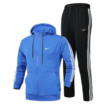 Nike Women Men Fashion Casual Hooded Cardigan Jacket Coat Pants Trousers Set Two-Piece-2