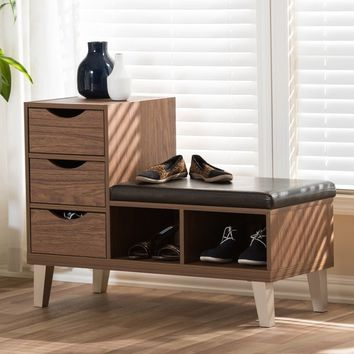 Arielle Modern 3-drawer Shoe Storage Padded Seating Bench | Overstock.com Shopping - The Best Deals on Benches