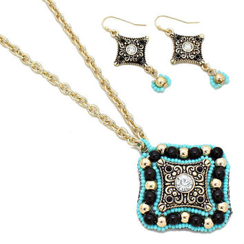 Black, Turquoise & Gold Beaded Crystal Pendant Necklace and Earring Set and Earring Set