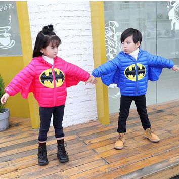 KEAIYOUHUO Spiderman Coat 2017 New Autumn Winter Baby Boys Coats Batman Jacket Warm Hooded Kids Down Jackets For Girls Outerwear