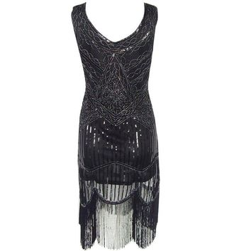 Mesh Black Dress Handmade Beaded Tassel 1920s Great Gatsby Dress Sequined Retro Style Hot Fashion Summer Sweet Women Party Dress