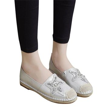 Rhinestones Star Design Women Flats Fashion Oxford Bottom Woman's  Autumn Casual Shoes