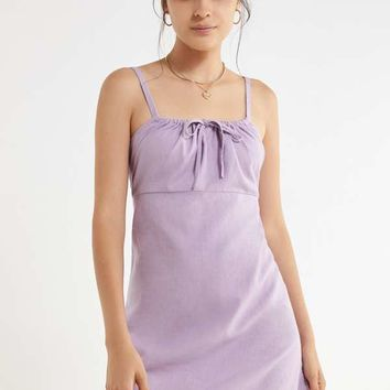 UO Ester Linen Tie-Front Mini Dress | Urban Outfitters