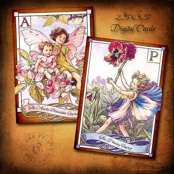 "Alpha Fairies - 24 (2.5""x3.5"") cards - Digital Collage Sheets CP-216 for ATC ACEO Jewelry Holders, Scrapbooking, Cards, Tags"