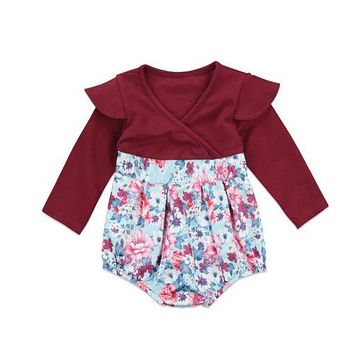Baby Clothing Newborn Infant Baby Girl Ruffles Long Sleeve V-neck Patchwork Floral Romper Jumpsuit Outfits Clothing 0-24M