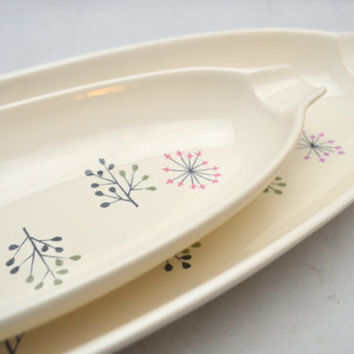 Set of Two Mid Century Franciscan Oval Serving Platters, Echo Pattern, Long Bread Tray, Relish Tray, 1950s