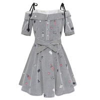 New Summer Printing Stripe Slash Neck Strap Sexy Dress Women Bow Tie Waist Off Shoulder Party Mini Dresses Casual Sweet Vestidos