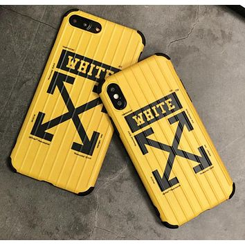 Off White Fashion New Letter Arrow Print Protective Cover Phone Case Yellow