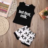 2pcs suit !! Infant Baby Boys Cotton Clothes letter printed sleeveless Tops + Shorts Outfits Set