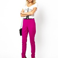 ASOS High Waisted Pants with Contrast Waistband