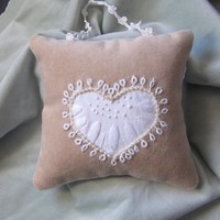 Hanging Pillow/beige velvet white heart