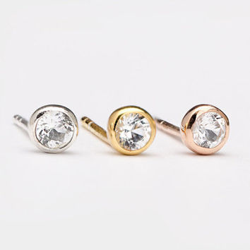 Tiny White Zirconia Stud Earrings, Sterling Silver, Gold Plated, Stone Post Earrings, Minimalist Lunaijewelry, Handmade  Gift STD075WCZ