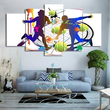 5 pcs Tennis Players Racket Abstract Color Print Wall Picture Decor Canvas Art