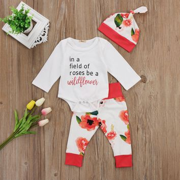 Toddler Infant Baby Girls Outfits Clothes Cotton Long Sleeve Bodysuit+Floral Pants+Hat Set 0-18M