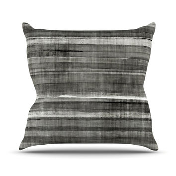 "CarolLynn Tice ""Grey Accent"" Dark Neutral Outdoor Throw Pillow"