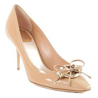 Christian Dior Beige Patent Leather Metal Twist Pumps 38.5 US 8.5
