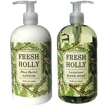Greenwich Bay Fresh Holly Shea Butter Hand & Body Lotion and Fresh Holly Hand Soap Duo Set 16 oz each