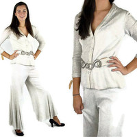Silver disco pants, Lurex pants and jacket, 1970s disco, silver metallic, silver bell bottoms, Size M