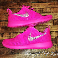 Womens Nike Roshe Run Breeze in Pink Blast, STYLE: 33826600 with Swarovski detail