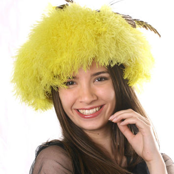 Crazy Yellow Royal Ascot hat, Feather Kentucky derby hat, Haute Couture hat, Statement head piece,crazy chiken hat, Melbourne cup yellow hat