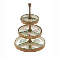 Vintage Tiered Tray Condiment Petit Fours Scones Server Hand Woven Reed Wood Hand Painted Ceramic Inserts Mid Century Portugal Retro Kitsch