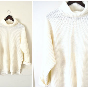 IVORY white TURTLE neck sweater vintage 80s MINIMALIST wardrobe staple cowl neck pull over jumper os