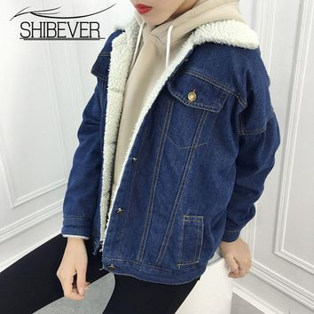 Fashion jeans Denim winter Jackets Women Loose Warm Female Parka Outerwear Casual autumn fur basic women coat Jackets 2018 JT532