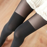 Hot sale Sexy Women Silk Stockings Pantyhose Ribbed Over  Sexy Slim Tights False High Pantyhose Stocking Female Pantys 12 Styles