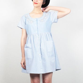 Vintage Babydoll Dress Blue White Dorothy Gingham Plaid 90s Dress Mini Dress Beaded 1990s Dress Lolita Soft Grunge Dress S M Medium L Large