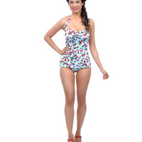 Vintage 1950s Style Pin Up Blue Cherries Delight Swimsuit