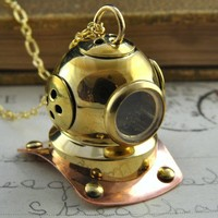 Let's Go Diving - Gold Steampunk Diving Helmet Necklace