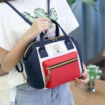 anello ring backpack canvas school printing ring bag supreme backpack women's vintage
