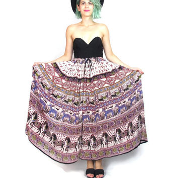 Vintage Indian Gauze Cotton Maxi Skirt Hippie Boho Festival Skirt Horses Floral Novelty Ethnic Print Drawstring Skirt (L/XL)