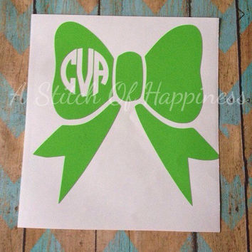 Bow Monogram Decal - Bow Car Decal - Vinyl Bow Monogram Decal - Window Car Decal - Personalized  Bow Decal - Car Monogram - Bow Car Monogram