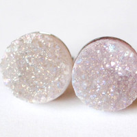 Boho Earrings - Levander Moon - Light Purple Toned Colorful Raw Druzy Round Quartz Stone Stud Earrings - Post, Jewelry, Wedding Accessories