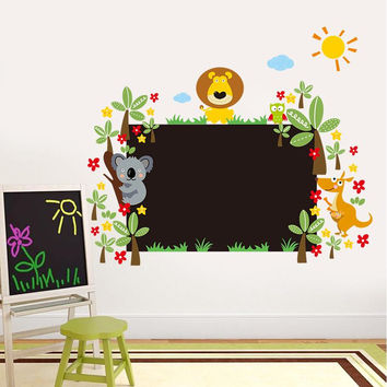 study with lovely animals chalkboard stickers class room decor kids gift 042l. home decals nursery cartoon mural art poster 5.0 SM6