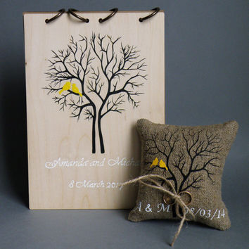 Set of 2 peaces Wedding wood guest book and ring pillow Yellow  Birds on Brown tree