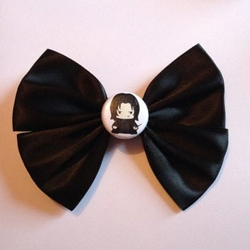 Severus Snape Harry Potter Hair Bow Hairbow Black Satin Button Cute Alan Rickman