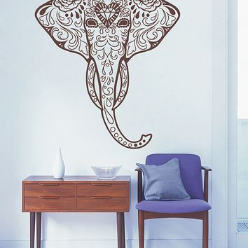 ik2887 Wall Decal Sticker elephant head of Ganesh Indian ornament living room bedroom
